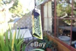 Tainui Nz Greenstone Pounamu Nephrite Jade Engraved Bound Maori Hei Toki Adze