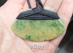 Tainui Nz Maori Greenstone Pounamu Nephrite Flower Jade Bound Hei Toki Adze