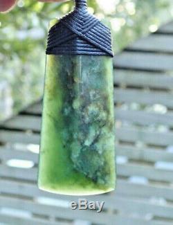 Tainui Nz Maori Greenstone Pounamu Nephrite Flower Jade Bound Pyramid Hei Toki
