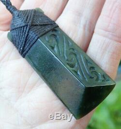 Tainui Nz Maori Greenstone Pounamu Nephrite Jade Bound Engraved Hei Toki Adze