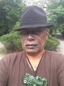 Te Kaha Bound Nz Pounamu Flower Jade Maori Greenstone Jade Hei Toki Adze
