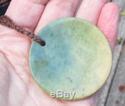 Te Kaha New Zealand Greenstone Gem Raukaraka Flower Jade Maori Pounamu Disk
