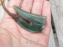 Te Kaha Small Nz Greenstone Kawakawa Jade Maori Pounamu Hei Matau Hook Pendant