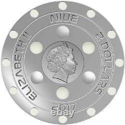 UFO 70th Anniversary of Roswell Incident $2 Silver Coin 2017 Glow In The Dark