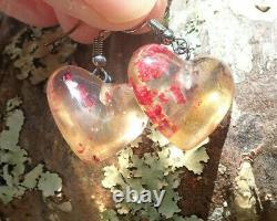 Unique Ancient Nz Maori Kapia Kauri Amber Copal Aroha Heart Hook Earrings