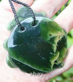 Unique Artwork Nz Greenstone Pounamu Nephrite Flower Jade Maori Te Wheke Octopus