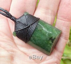 Unique Chatoyant Nz Maori Greenstone Pounamu Nephrite Jade Bound Hei Toki Adze
