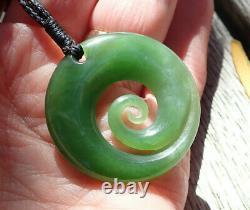 Unique Gem Nz Pounamu Greenstone Flawless Kahuranhgi Jade Maori Spiral Koru
