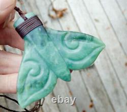 Unique Hand Carved Nz Maori Pounamu Greenstone Inanga Jade Bound Whale Tail