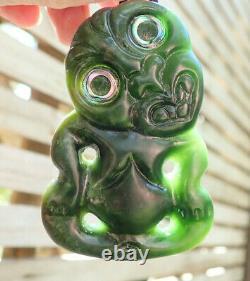 Unique Nz Greenstone Pounamu Nephrite Flower Jade Paua Eyed Maori Hei Tiki