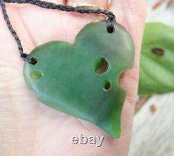 Unique Nz Greenstone Pounamu Nephrite Totoweka Jade Maori Kawakawa Leaf Pendant