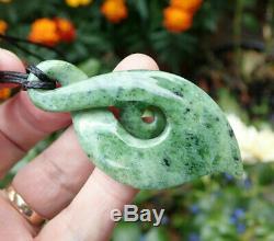 Unique Nz Pounamu Greenstone Marsden Flower Jade Maori Koru Eternity Twist