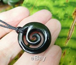 Unique Small Nz Pounamu Greenstone Dark Arahura Jade Maori Spiral Koru Pendant