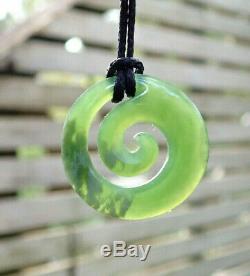 Unique Small Nz Pounamu Greenstone Inanga Flower Jade Maori Spiral Koru Pendant