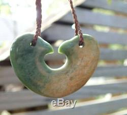 Unique Te Kaha Nz Pounamu Flower Jade Maori Greenstone Jade Kaiaia Love Birds