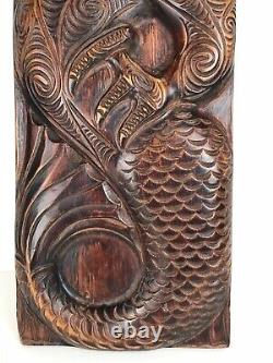 VINTAGE NEW ZEALAND MAORI MANAIA CARVED TIMBER ART PANEL 65 x 22cm PACIFIC TIKI