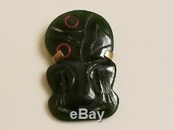 Vintage Hand Carved Maori Pounamu Nz Greenstone Nephrite Jade Hei Tiki