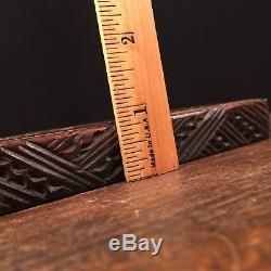 Vintage Maori Carved Tattoo Box New Zealand Wood Abalone Shell Tiki PRIORITY