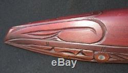 Vintage Maori Carved Wooden Waka War Canoe New Zealand Pacific Island Polynesian