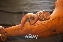 Vintage Maori Patu Wahaika Kotiate War Club Wood Tiki God New Zealand