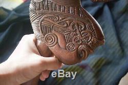 Vintage Maori Patu Wahaika War Club Rich Carved Wood Tiki God New Zealand