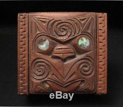 Vintage Maori Tiki Handcarved Wooden Feather Trinket Box New Zealand Tribal #1