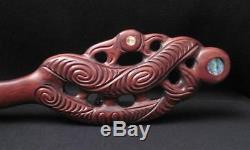 Vintage Maori Tiki Handcarved Wooden Maripi Patu New Zealand Tribal Paua Shell