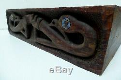 Vintage New Zealand Maori Carved Timber Box Bowl Manaia Tiki Paua Shell Eye Moko