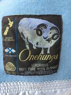 Vntg Onehunga Woolen Mills Auckland New Zealand Lovely Blue Blanket Satin Trim