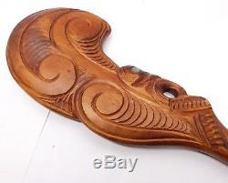 Vtg Maori Wood Wahaika War Club Patu Abalone Eyes New Zealand Tiki Weapon Carved