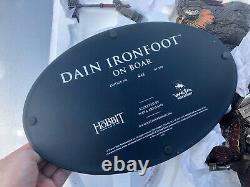 WETA DAIN IRONFOOT ON WAR BOAR Statue HOBBIT Lord Rings Dwarf Read Description