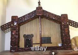 Whare Runanga Maori Tribal Meeting House Authentic Wood Carved Moko Statue 70s